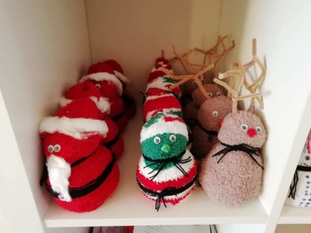 Elf and reindeer sock decorations