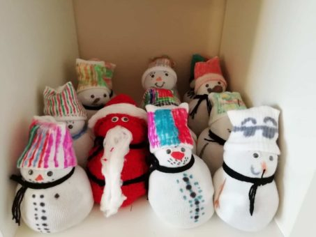 Santa and snowmen sock decorations