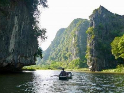 Boat on the river in Tam Coc, Vietnam