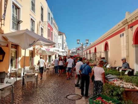 Market day in the streets of Loule, Algarve, Portugal