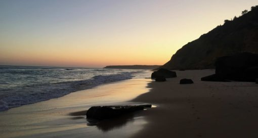 Salema beach at sunset in the western Algarve, Portugal