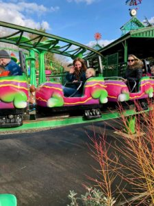 Riding the rollercoaster at Paulton's Park, Hampshire