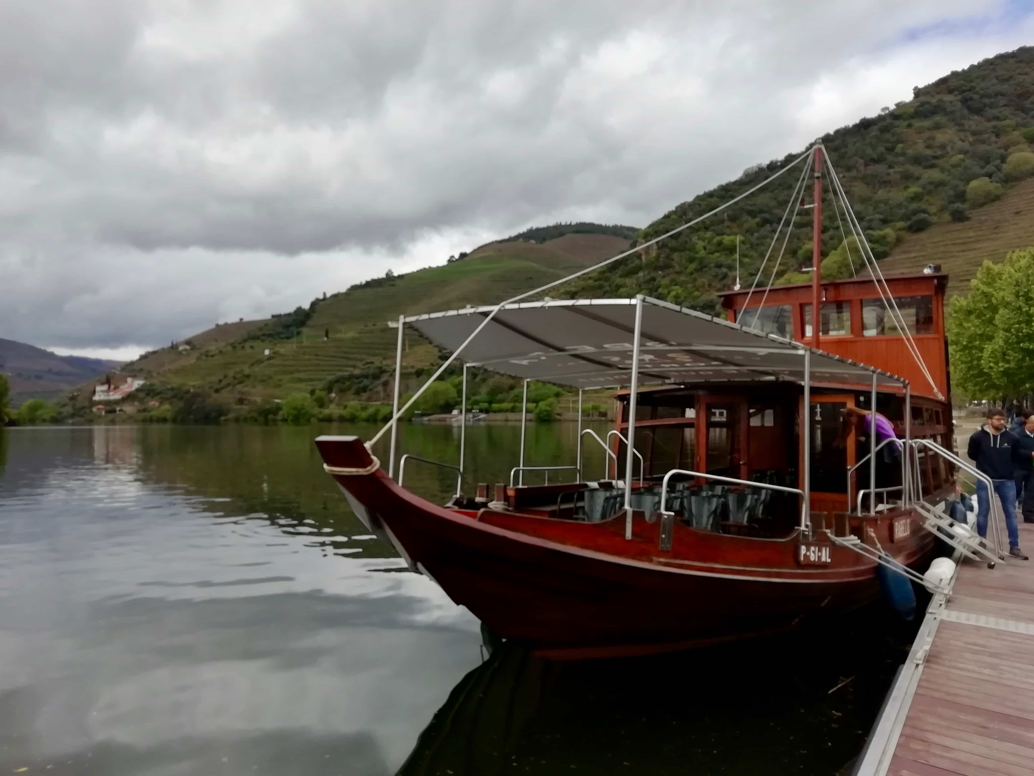 A traditional Rabelo boat on the Douro River in Portugal