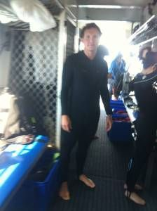 Andrew in a Stinger suit