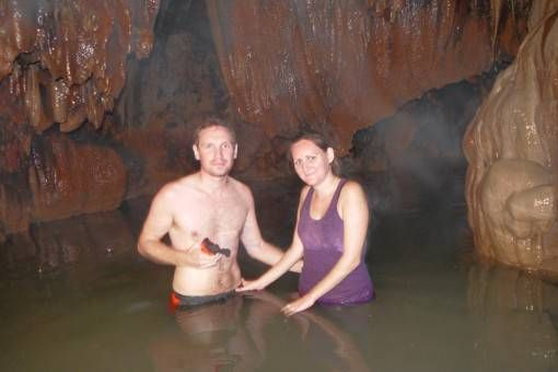 Wading through an Underground Cave River