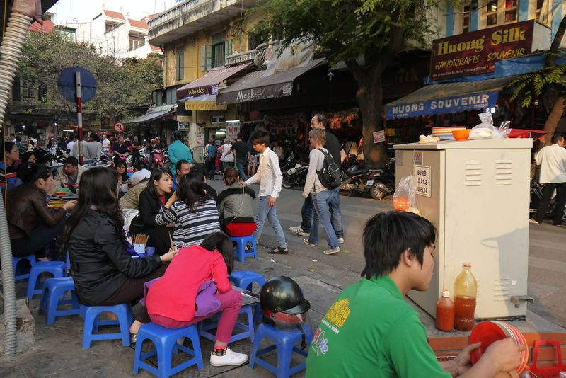 People Eating Street Food in Vietnam