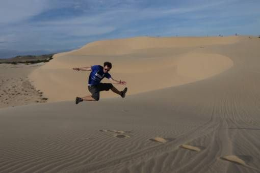 Jumping Shot! Andrew on White Sand Dunes