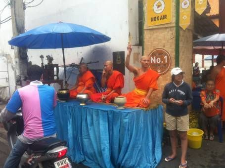 Monks Blessing People During Songkran 2014