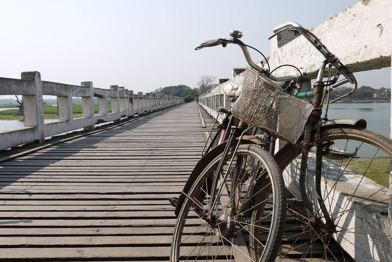 Bikes on a bridge, Mandalay