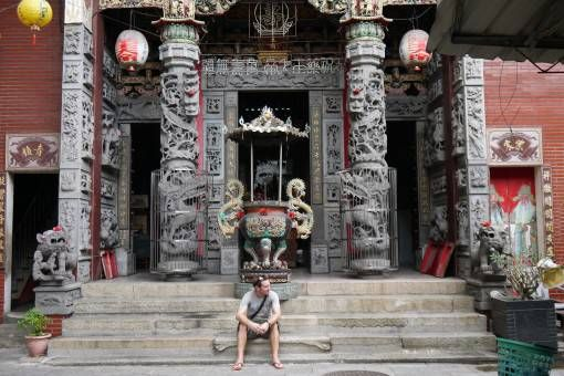 Andrew Outside a Temple in Tainan