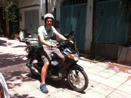 Andrew on our Motorbike in Vietnam