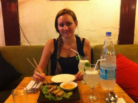Eating Spring Rolls in Hanoi