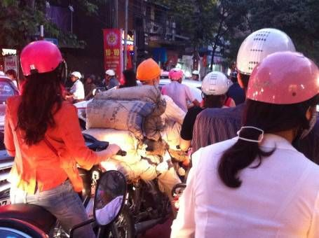 Motorbike loaded with cement