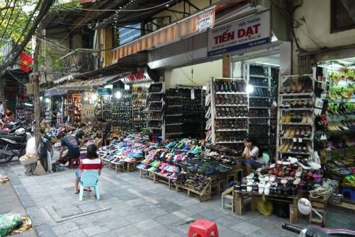 Shoe shop on shoe street in Hanoi