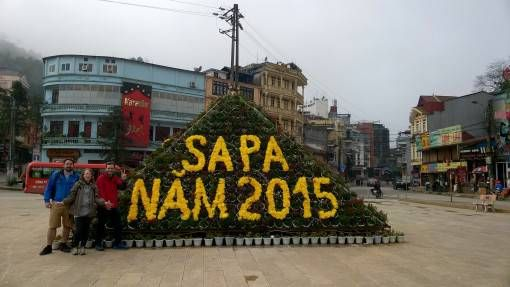 A Happy New Year Sign in Sapa