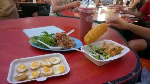 Dinner at the Sunday Night Market in Chiang Mai, Thailand