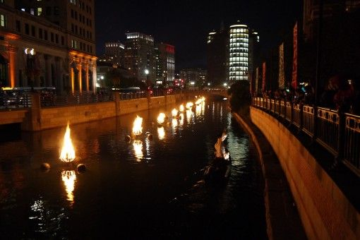 Cruising down the river at WaterFire