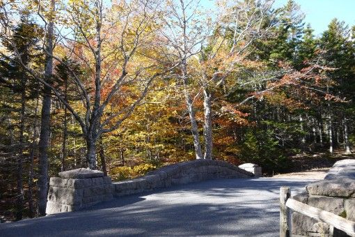 Carriage Bridge at the south of Jordan's Pond in Fall