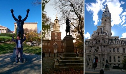Rocky statue, Independence Hall and City Hall in Philadelphia