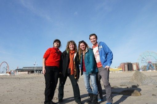 Hanging out with Christine and Pam at Coney Island