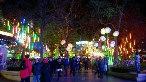 Leicester Square lit up in the Lumiere London Festival