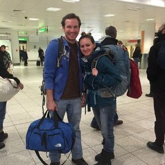 Us at Gatwick Airport with our Backpacks