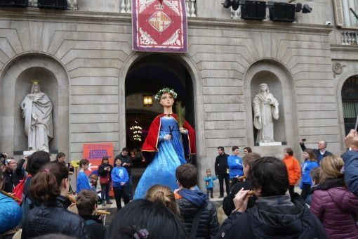 Giant Puppet of Santa Eulalia at the 2016 fiesta in Barcelona