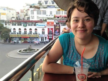 Melissa having a drink in the Old Quarter of Hanoi