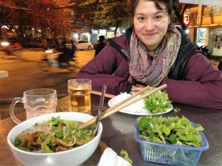 Teacher Melissa having dinner on a Hanoi street in Vietnam