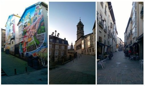 Vitoria-Gasteiz old city streets, churches and murals