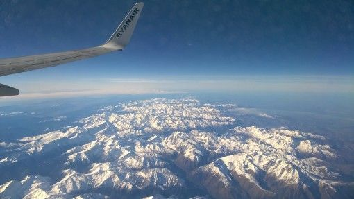 View over the Pyrenees from the plane