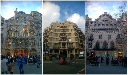 Gaudí's Casa Batlló and La Pedrera and Josep Puig i Cadafalch's Casa Amatller