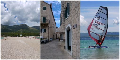 Zlatni Rat beach, Bol and Windsurfers, Brac, Croatia