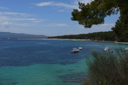 View of Zlatni Rat Beach from the town of Bol