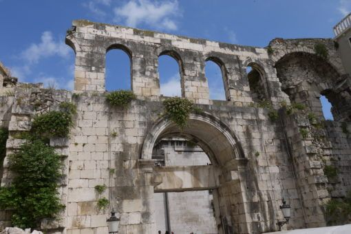 The ancient city walls of Split's Old Town, Croatia