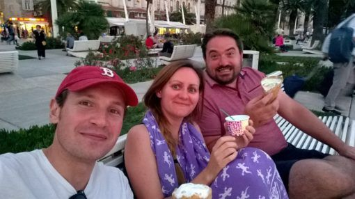 Eating ice cream with our friend in Split, Croatia