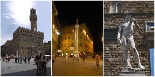 Landmarks and Statues in Florence, Italy