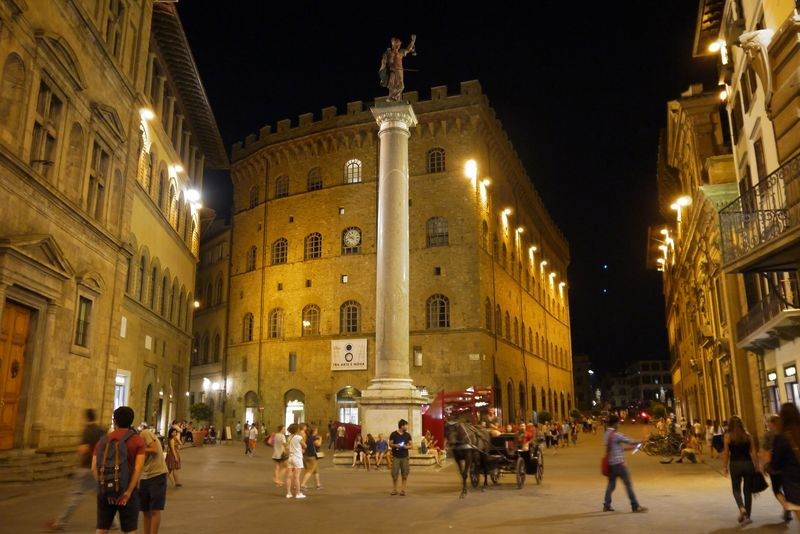 The scales of justice on Piazza Santa Trinita