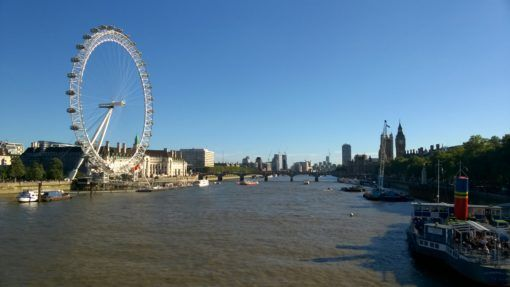 View over the River Thames with the London Eye and Westminster