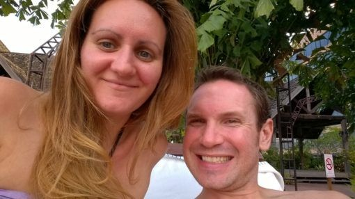 Us at the pool in Chiang Mai