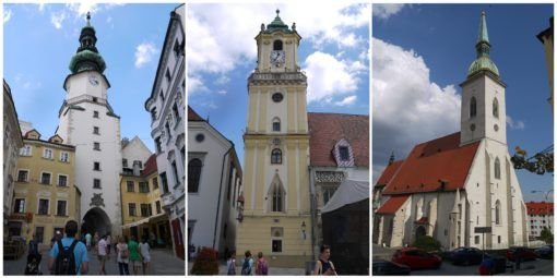 St Michael's Gate, Clock Tower and St Martin's Cathedral in Bratislava