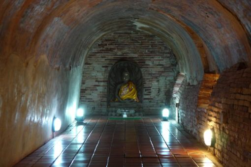 Buddha in a tunnel at Wat Umong Temple, Chiang Mai