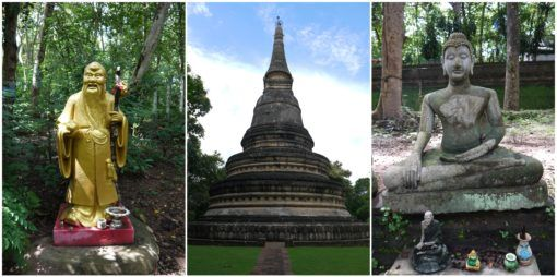 Statues and Stupa at Wat Umong Temple in Chiang Mai