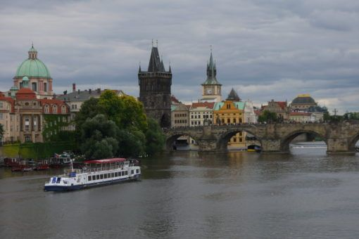 The Charles Bridge from the riverbank in Prague