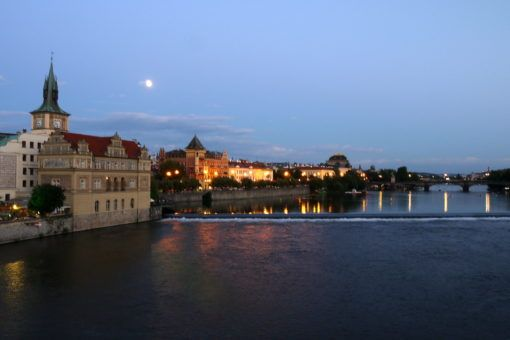 View from the Prague Bridge over the river at night