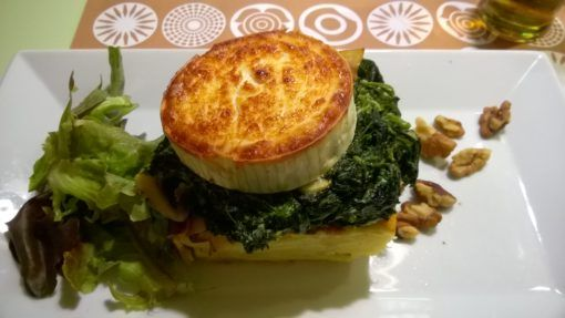 Cheese with spinach and potato from a Vegetarian restaurant in Prague