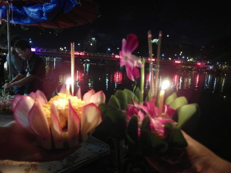 Krathongs made of leaves and flowers at the Loy Krathong festival in Thailand