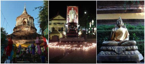 Collage of pictures of Loy Krathong and Yi Peng 2016