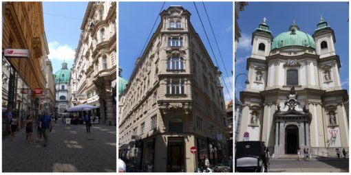 Collage of buildings in Vienna, Austria