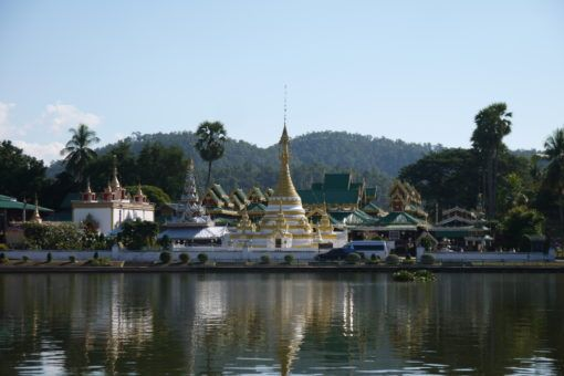 Temples on the lake in Mae Hong Son town, Thailand